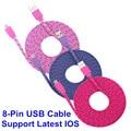1 m/2 m/3 m colorido de un rayo brankbass sync cable cargador de datos usb cargador de la sincronización de datos cable de alambre de la cuerda para el iphone 5/5s/6/6 plus
