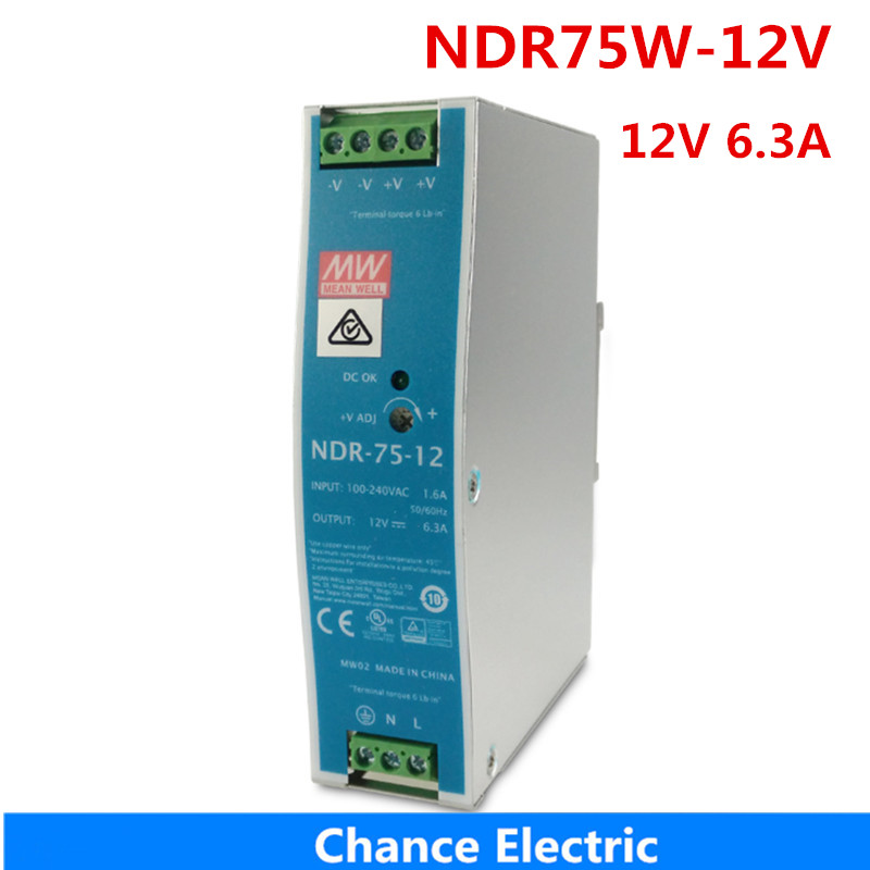 MEAN WELL Power Supply NDR-75-12 12V 6.3A meanwell 75W 75.6W Single Output Industrial DIN Rail Switching Power Supply dr 75 12 din rail 75w 12v single output switching power supply din rail 12v 75w