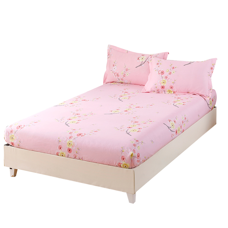 Elegant And Beautiful Pink Flowers Printed Pattern Bedding Three Sets Of Fitted Sheet+ Pillowcase Comfortable Soft And Healthy
