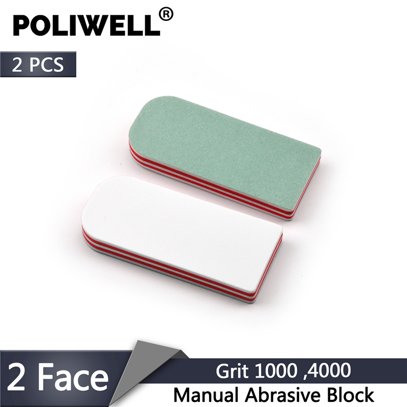 POLIWELL 2PCS Double Side Buffer Nail Polishing Block Manual Abrasive Block Grit 1000 4000 Wood Sanding Blocks Abrasive Tools
