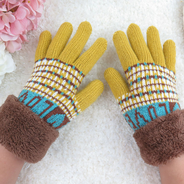 25a6dd06152b 2016 nouvelle Mode automne et d hiver gants de gants En Tricot imprimer  extérieur enfants