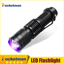 Comprimento De Onda 395nm UV lanterna Mini LED Torch blacklight Violeta Luz UV luz Negra torcia lanterna Usar 14500 ou AA(China)