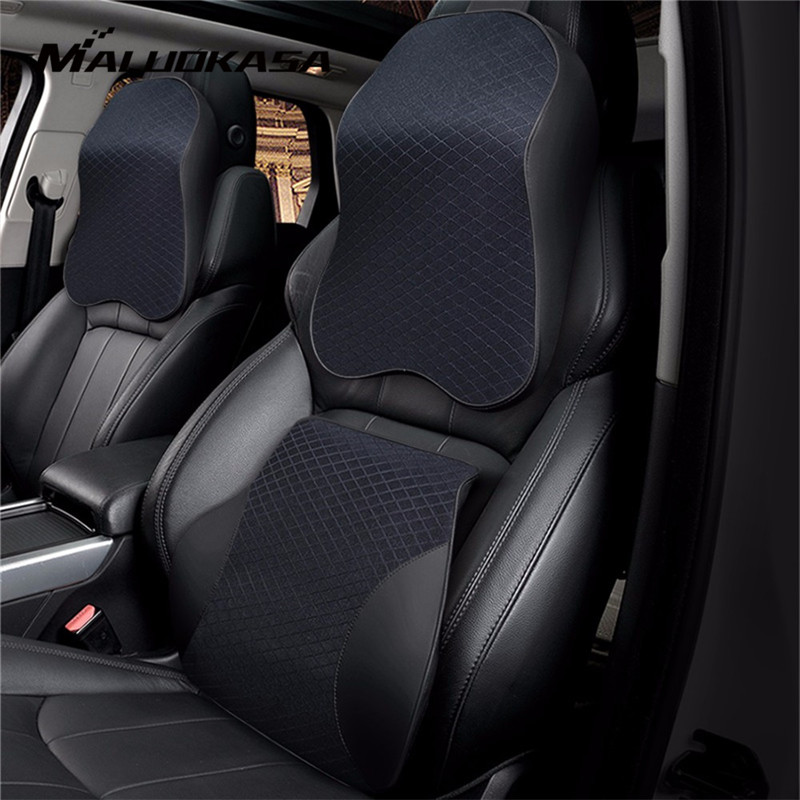 3D Memory Foam Car Pillow PU Leather Seat Cushion Neck Pillow Waist Lumbar Universal Back Rest Lumbar Auto Accessories