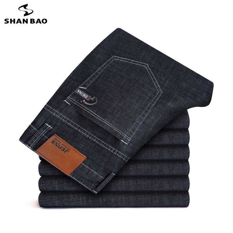 2019 spring and Autumn new business casual men's slim stretch jeans back pocket embroidery large size fashion thin jeans 28-46