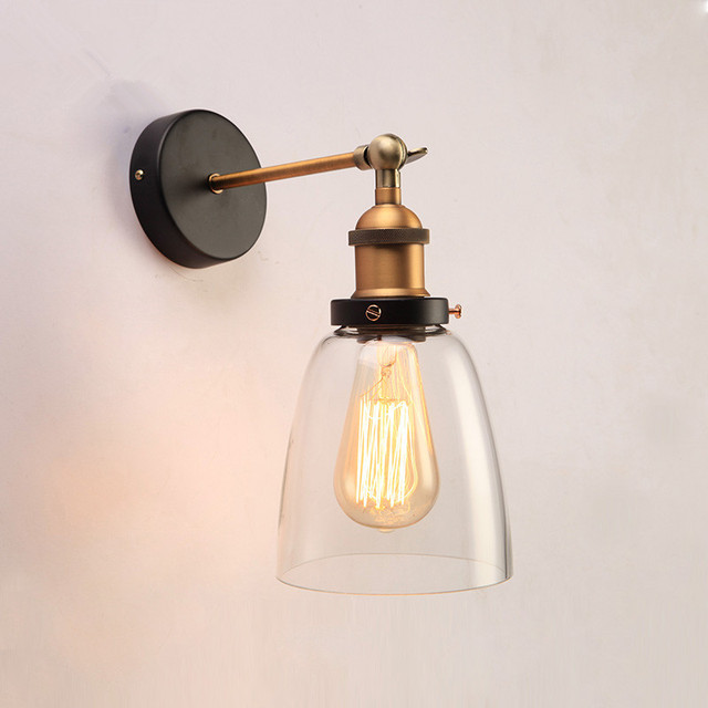 Loft Vintage Gl Wall Lamps Clear Lampshade Sconce Warehouse Light Fixtures E27 Bedside Lamp Lighting