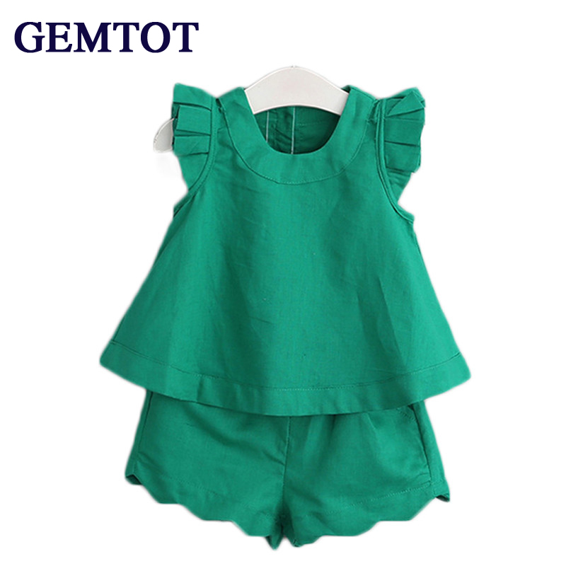 GEMTOT Girls Clothing Sets 2017 New Arrival Spring&Summer O-Neck Sleeveless Solid Kids Clothing Sets Children Clothing spring new 2017 girls clothing sets