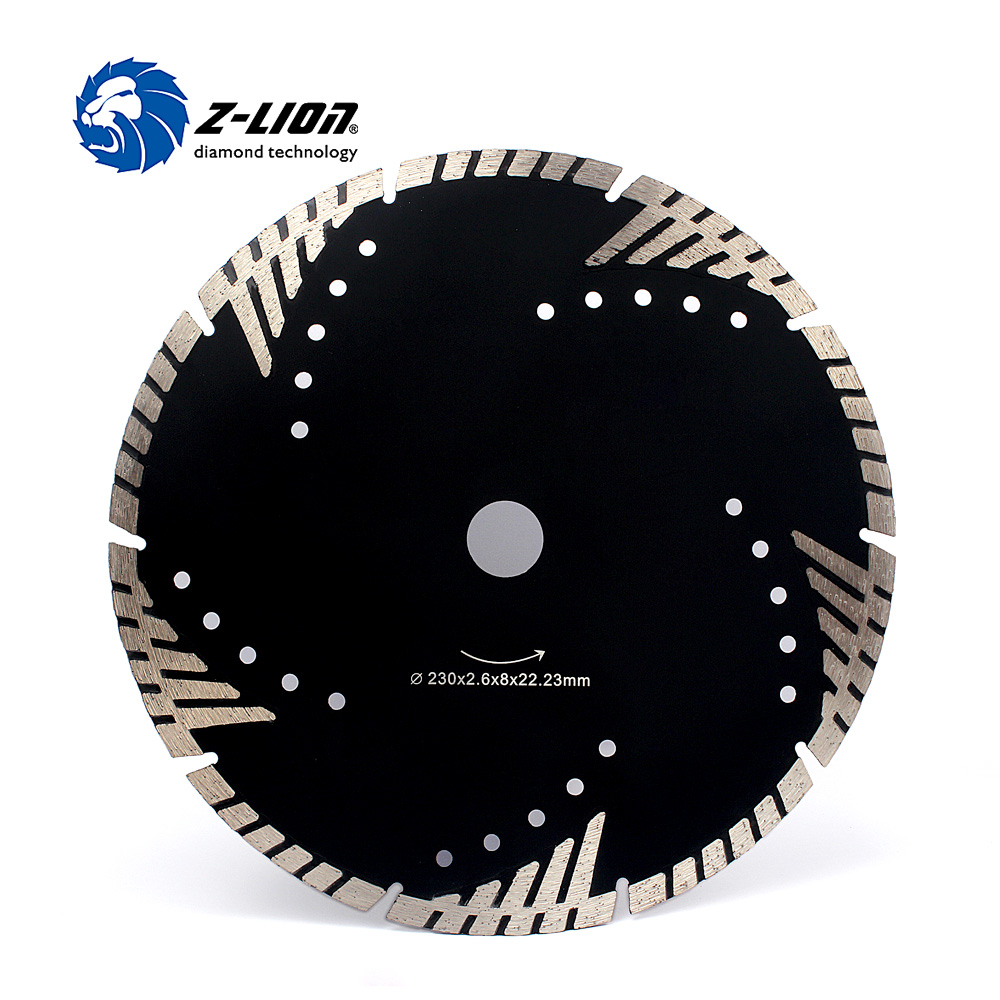 Z-LION 230mm Diamond Cutting Disc Granite Marble Saw Blade Turbo Diamond Segments 9 Inch Store Cutting Tool Blade