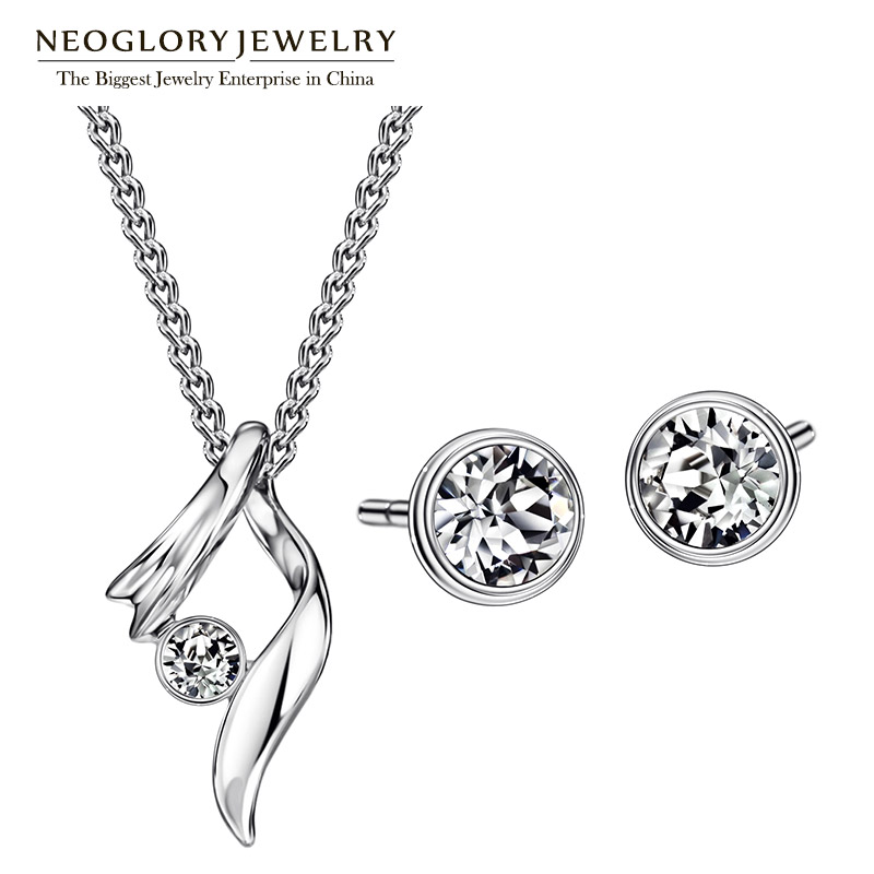 Neoglory Jewelry Sets With Necklaces Earrings Austrian Rhinestone  For Women 2020 New Gifts P1