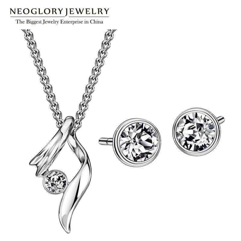 Neoglory Schmuck Sets Mit Halsketten Ohrringe Österreichischer Strass Für Frauen 2020 Neue Geschenke P1