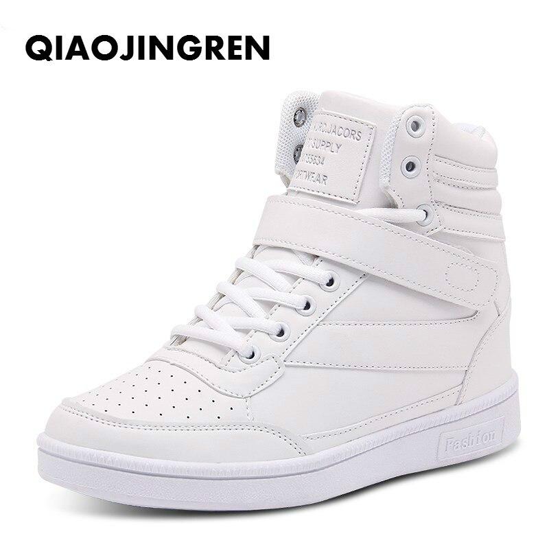 2018 Frauen Casual Schuhe Espadrilles Plattform Versteckte Zunehmende Turnschuhe Pu-leder Schuhe Frau Atmungsaktive High Top White Schuhe 100% Garantie