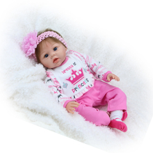 55cm Lifelike Reborn Baby Dolls Girl Soft Silicone Bebes Reborns Realistic Reborn Dolls PP filling Silicon with Clothes Cute Toy
