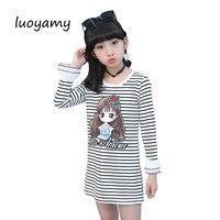 luoyamy 2017 Girls Striped O-neck Dress Autumn Kids Cotton Dress Children's Clothing Princess Dresses Baby School Gowns