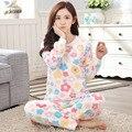 Mulheres Pijamas de inverno Coreano Engrossar Floral Pijamas Conjuntos de Flanela Feminino Carta Estrela de Manga Longa Pijama Sleepwear Sleepsuit