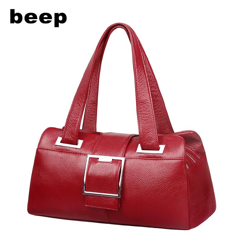 BEEP2018 new high-quality fashion luxury brand leather handbag handbag fashion pillow bag middle-aged ladies shoulder bag beep beep go to sleep