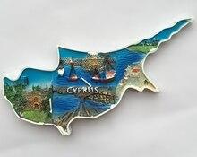 Pintados À mão Mediterrâneo Chipre Mapa Lembranças de Viagem Geladeira Adesivos Magnéticos Ímãs de Geladeira 3D Casa Decortion