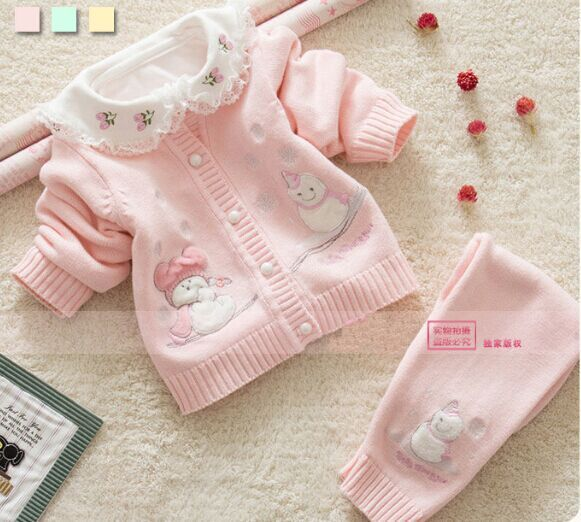 2015 New Girls Cardigan Clothing Sets Baby Kids Boys Clothes Cotton Sweater Full Sleeve Knitted Single Breasted Coat+pants