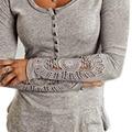 Blusas de renda de Crochet Lace mulheres blusa de manga longa Tops Blusas mujer cobertura o-pescoço assentamento camisa BH47