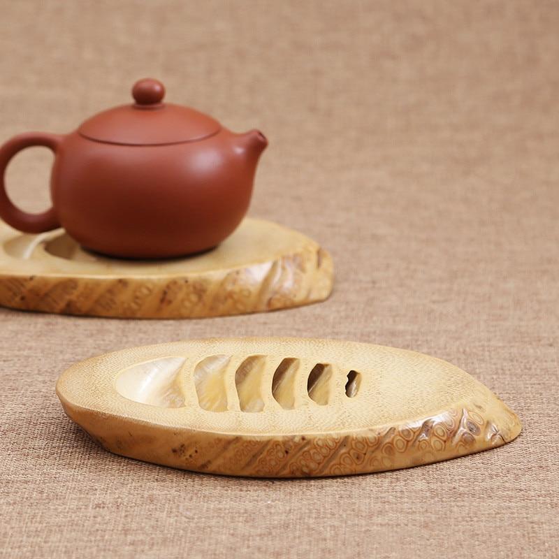 Bamboo root Tea Cup Mat Oval Handmade posavasos For Kungfu Tea Set Classic Coasters Pastoral Tea