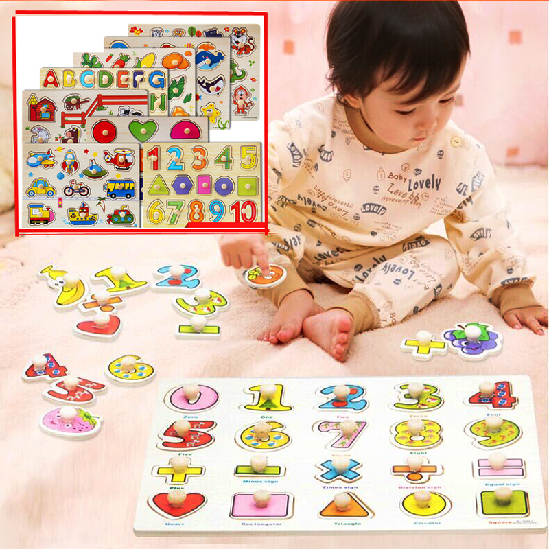 Baby Hand grasping Jigsaw board cognitive wooden toys animal family vehicle model puzzle for children diy handmade tangram board 32 pcs setcolor changed diy jigsaw toys wooden children educational toys baby play tive junior tangram learning set