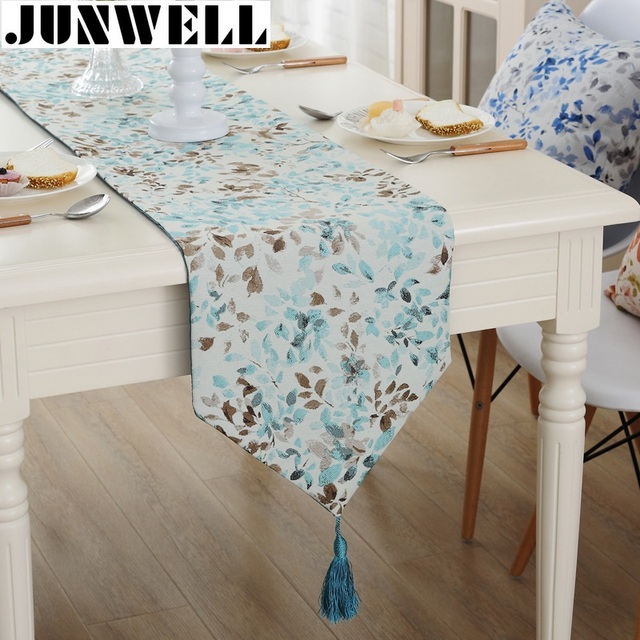Junwell Fashion Modern Table Runner Vintage Nylon Jacquard Runner Table  Cloth With Tassels Cutwork Embroidered Table