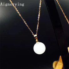 Fidelity natural Certificate white Hetian jade pendants 18k yellow gold simple fine jewelry for women party natural gemstone