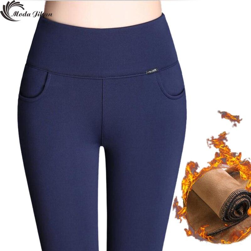 Moda Jihan Femmes Pantalon D'hiver Crayon Pantalon Chaud 4XL Grand Taille Plus Épais Velours Pantalon Slim Taille Haute Élastique Femelle pantalon