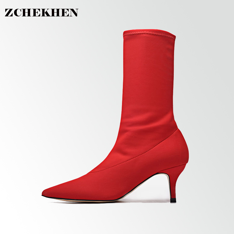 2018 Spring Women's Mid-calf High-Heeled Boots Woman Star Kardashian Sexy Pointed Toe Boots stretch sock red #59 double buckle cross straps mid calf boots