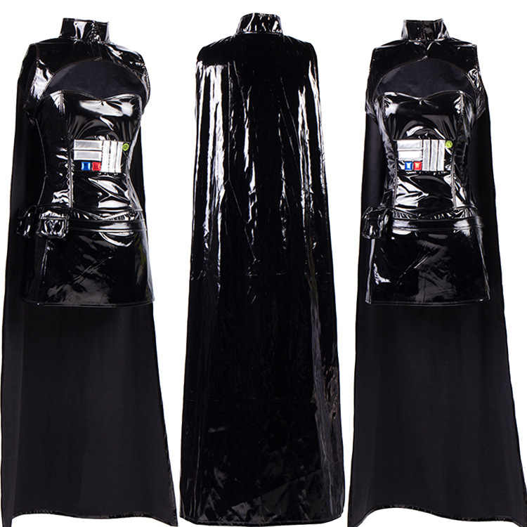 2017 Dewasa Wanita Wet Lihat Faux Kulit PVC Komandan Sci-fi Kostum Star Wars Cosplay Fancy Dress S-2XL