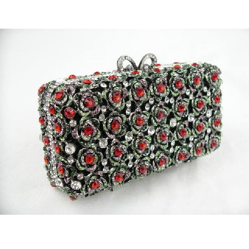 #8223 Crystal small ROSES Flower Floral Bridal Party Black hollow Metal Evening purse clutch bag case box handbag