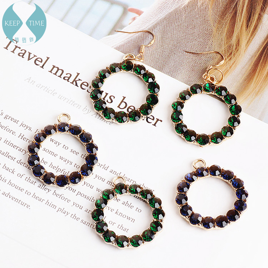 DIY handmade jewelry accessories with diamond ring alloy hanging pendant necklace pendant earrings earrings materials