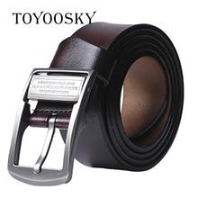 купить TOYOOSKY Men High Quality Genuine Leather Belt Luxury Designer Belt Men Cowskin Fashion Strap Male Jeans for Man Cowboy Belt онлайн