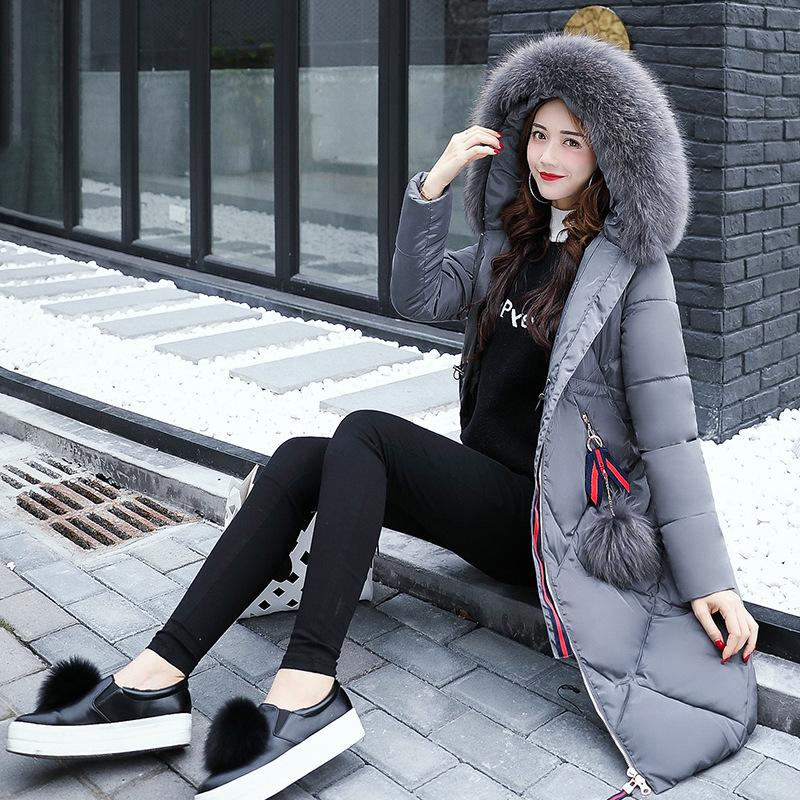 Women Winter Fashion Warm Down Jacket Hooded Cotton Long Fur Collar Slim Women Thick Parkas Coats Zipper Ladies Outwear Parkas 2017 new fur collar parkas women winter coats medium long thick solid hooded down cotton female padded jacket warm slim outwear