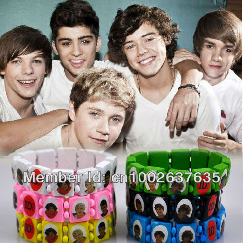 12pcs 1D I Love One Direction Super Star Wood Stretch Bracelets Mixed 6 Colors Party Gift Fashion Jewelry Free Shipping