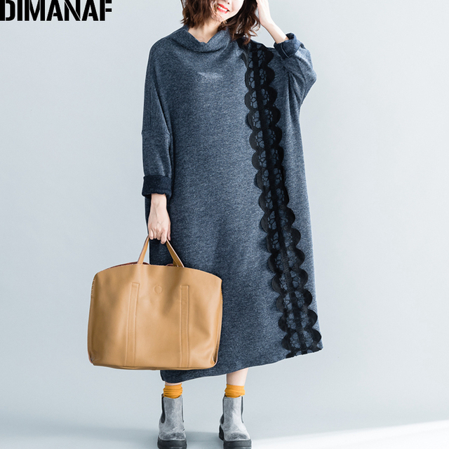 DIMANAF Women Long Dresses Plus Size Knitting Cotton Thicken Warm Female Clothes Lady Lace Vestidos Vintage Dress Autumn Winter