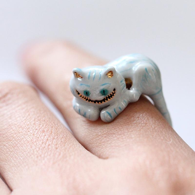 2018 New Style Girl Alice Series High-end Enamel Glazed Cheshire Cat Ring Elegant Noble Animal Jewellery Enamel Glaze Ring