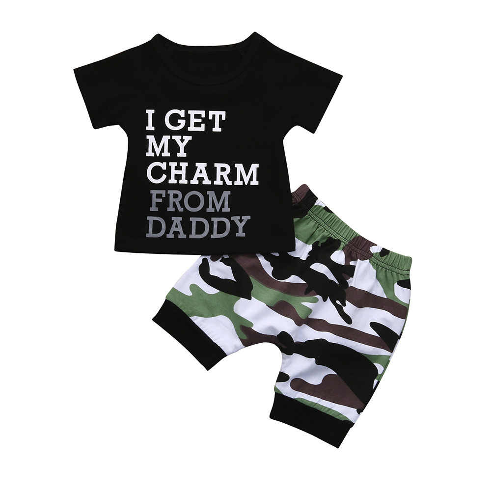 Toddler Kids Baby Boy Letter T shirt Tops+Camouflage Shorts Outfits Clothes Set Baby Gir ...