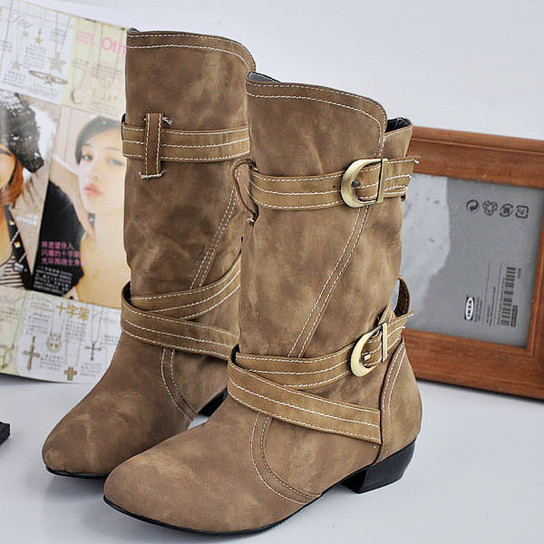 e9b4e491376f Slouch Women Boots Mid-Calf Boots Slip-On Hoof Heels Buckle Western Boots  Round Toe Low Heel Winter Casual Black Brown