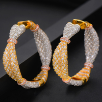 GODKI Luxury Ear Candy Statement Big Hoop Earrings For Women Wedding Cubic Zircon CZ DUBAI Bridal Round Circle Hoop Earring 2019