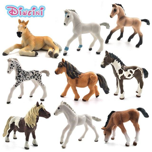 محاكاة نماذج للحيوانات الخيول عمل أرقام الأطفال ديكور المنزل الجنية حديقة اكسسوارات الديكور تمثال هدية للأطفال لعبة