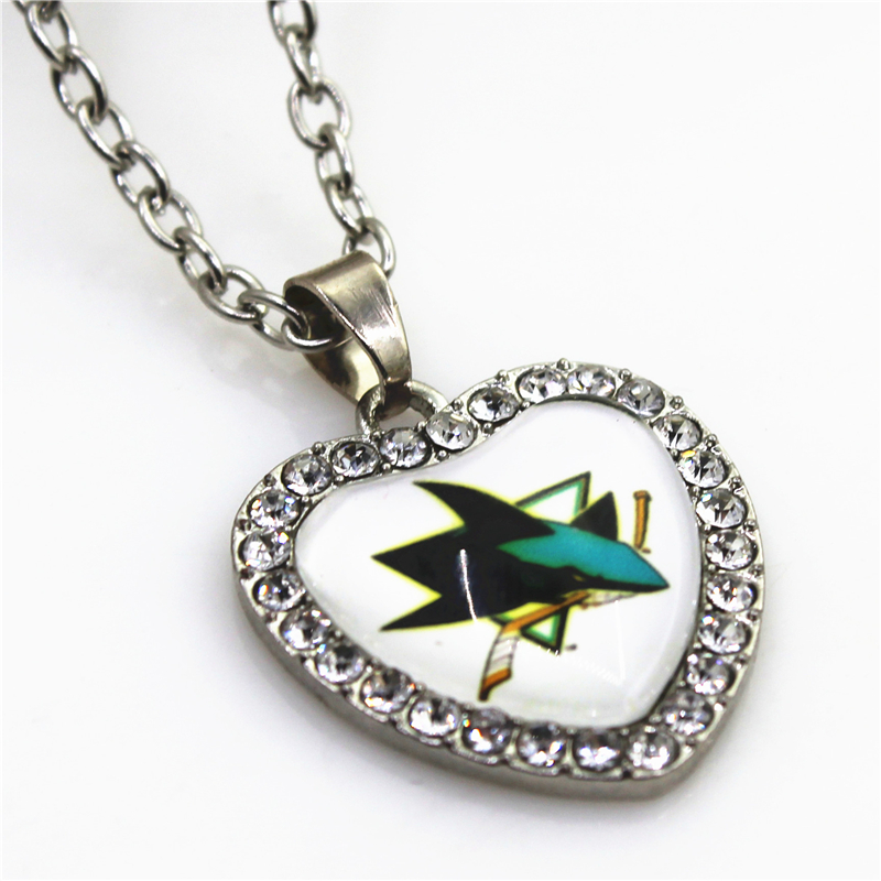 Hockey Sport Necklace 10pcs Crystal Heart San Jose Sharks Necklace Pendant Charms with 50cm Chains NHL Necklace Jewelry