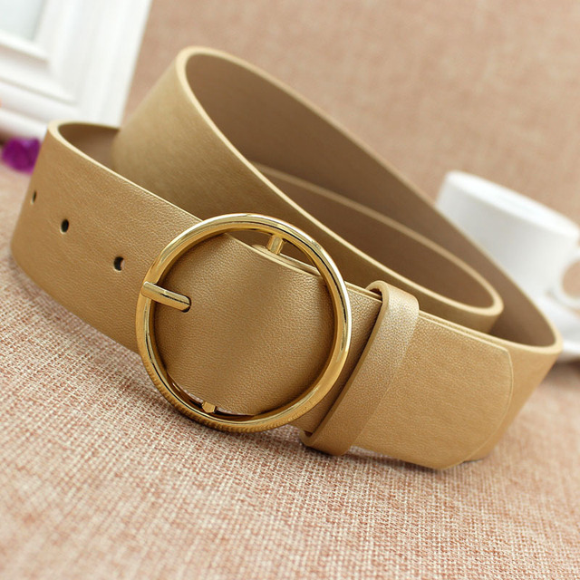 Fashion Classic round buckle Ladies wide belt Women's 2018 design high quality  female casual leather belts for jeans kemer F110 4