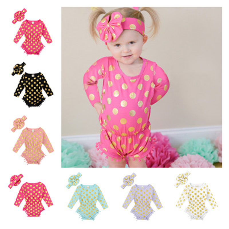 Baby girls FOIL GOLD romper pokadot Rompers toddle clothing for Newborn Jumpsuits with headband 2pcs/lot Autumn clothes L033