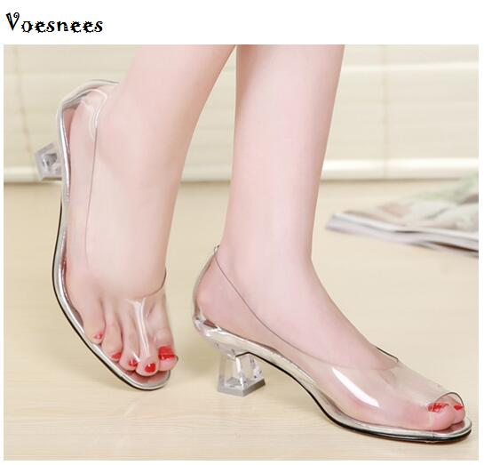 High Quality all Transparent Peep Toe Sandals Women Shoes 2018 New High-heeled Comfortable Crystal Lady Shoes Size 34-40