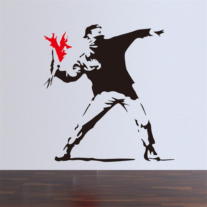 Us 3 49 Famous Banksy Painting Work Creative Boy With Red Flower Home Decal Wall Stickers Drawing Room Decor Mural Art Sticker In Wall Stickers From