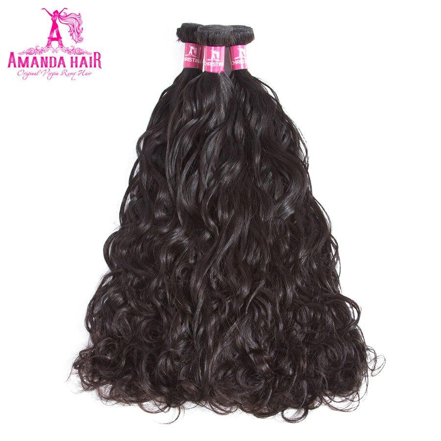 Haarverlängerung Und Perücken Amanda Malaysische Remy Haar Wasser Welle 3 Bundles 8-28 mixed Länge Doppel Schuss Menschliches Haar Weave Bundles Natürliche Schwarze Farbe