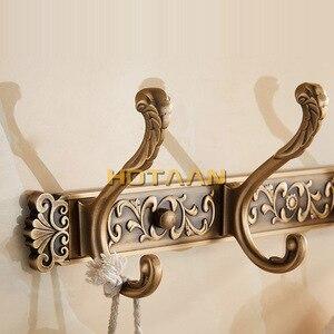 Image 5 - Robe Haken Luxus Bad Wand Carving Antike Robe Haken 5 Reihe Haken Kleiderbügel Tür Haken Für Bad Zubehör YT 3012