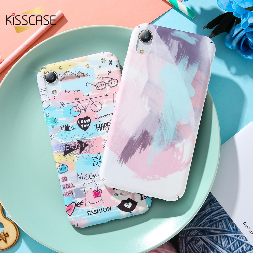 KISSCASE Graffiti Phone Case For Iphone 8 7 Plus Hard PC Pattern Cover For Iphone XS Max Xr X 6 6S Plus Phone Accessories Capa