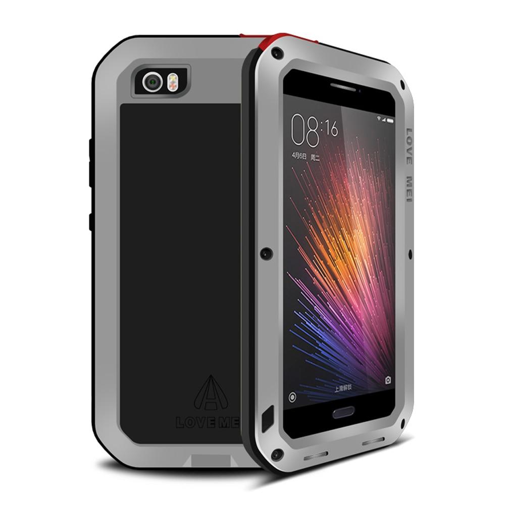 imágenes para Para Xiaomi mi Caso de Aluminio del Metal Armadura a prueba de Agua A Prueba de Golpes Del Mi5 + Gorilla Glass Para Xiaomi mi Caso 5 de Metal Proteger cubierta