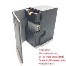 Boîte à cartes de taille moyenne, étui à pont pour jeux de cartes magiques: couleur noire