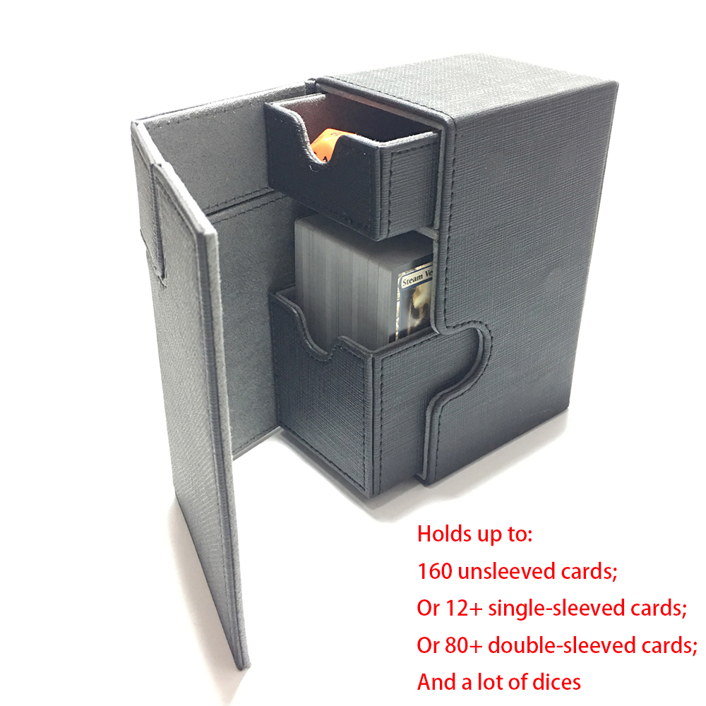 Middle Size Card Box Deck Box Deck Case For Magic Board Game Cards: Black Color